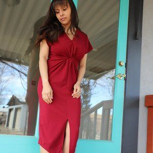 Maroon Knotted Dress